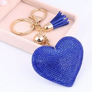 Heart Shaped Blue Bling Key Chain Ring NWT